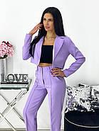 Діловий жіночий костюм двійка (піджак + штани), 00690 (Лавандовий), Розмір 42 (S), фото 2