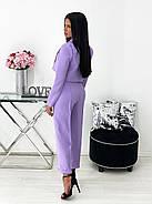 Діловий жіночий костюм двійка (піджак + штани), 00690 (Лавандовий), Розмір 42 (S), фото 3