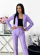 Діловий жіночий костюм двійка (піджак + штани), 00690 (Лавандовий), Розмір 42 (S), фото 4