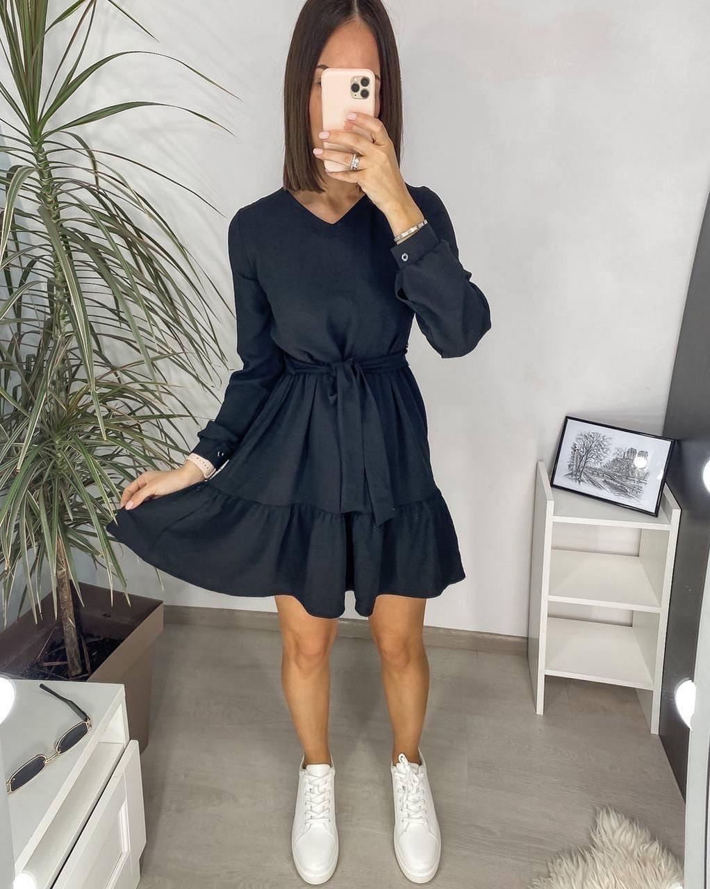 Свободне легке плаття з довгим рукавом креп-жатка, 00560 (Чорний), Размер 48 (XL)