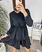 Свободне легке плаття з довгим рукавом креп-жатка, 00560 (Чорний), Размер 48 (XL), фото 3