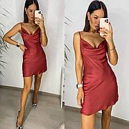 Шовкове коротке плаття-комбінація люкс якості, 00708 (Цегляний), Розмір 46 (L), фото 2