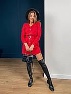 Короткое замшевое платье мини с длинным рукавом, 00500 (Красный), Размер 46 (L), фото 2