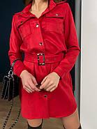 Короткое замшевое платье мини с длинным рукавом, 00500 (Красный), Размер 46 (L), фото 3
