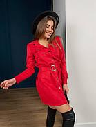Короткое замшевое платье мини с длинным рукавом, 00500 (Красный), Размер 46 (L), фото 4