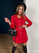 Короткое замшевое платье мини с длинным рукавом, 00500 (Красный), Размер 46 (L), фото 5