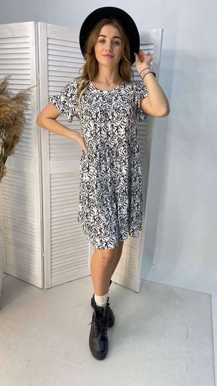 Легке літнє плаття тренд 2021 року, 00555 (Білий), Размер 46 (L)