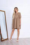 Стильне і модне жіноче плаття вільного крою до колін, 00674 (Бежевий), Розмір 46 (L), фото 2
