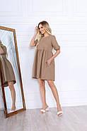 Стильне і модне жіноче плаття вільного крою до колін, 00674 (Бежевий), Розмір 46 (L), фото 3