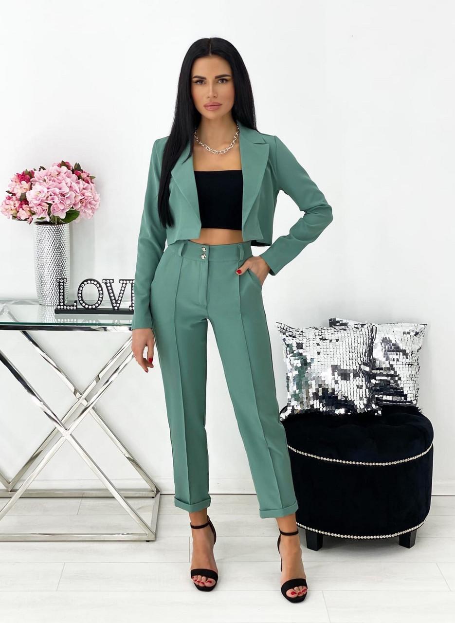 Жіночий костюм за останнім писком моди (жакет + штани), 00689 (Оливковий) ,Розмір 44 (M)