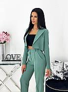 Жіночий костюм за останнім писком моди (жакет + штани), 00689 (Оливковий) ,Розмір 44 (M), фото 4