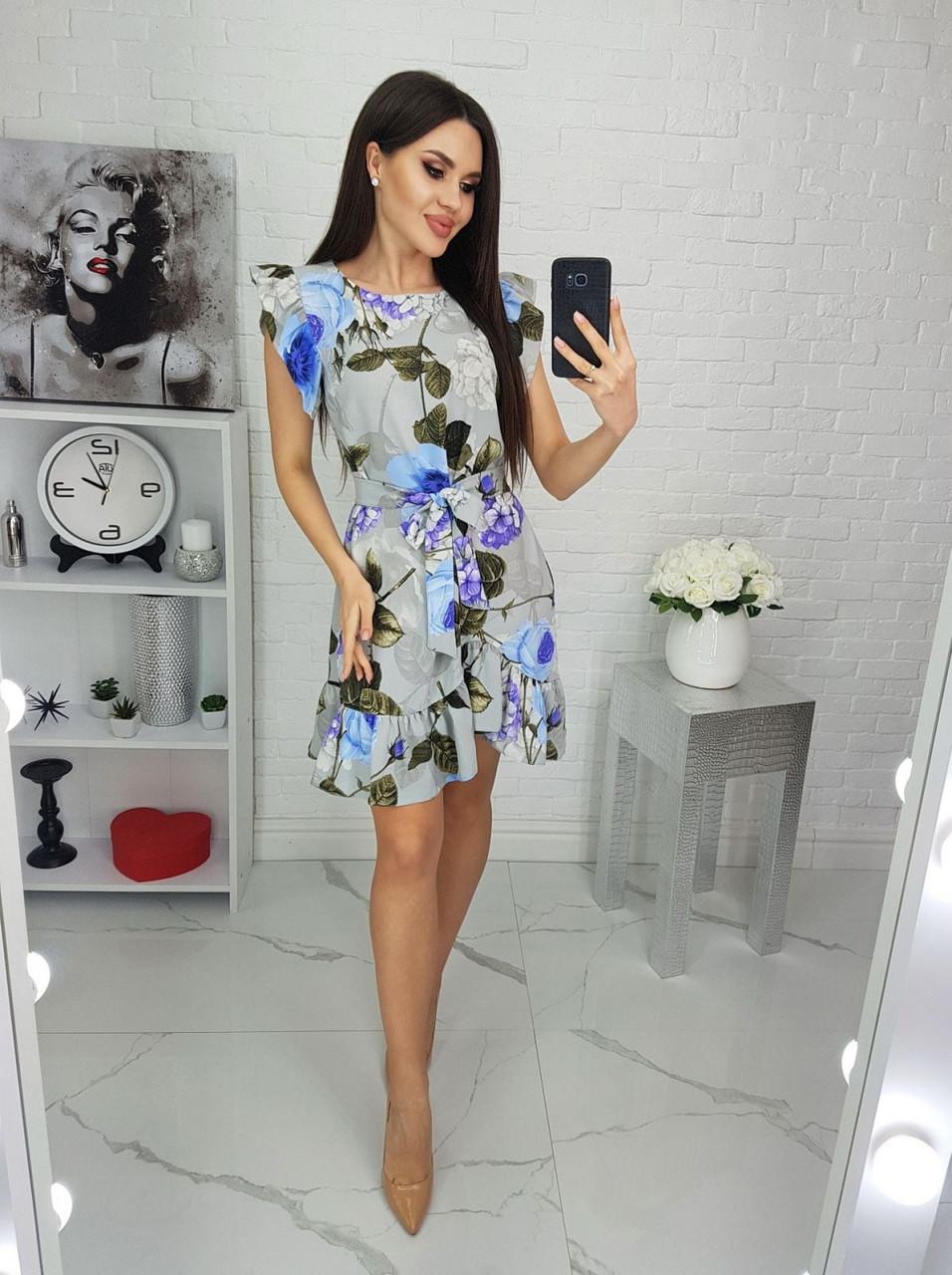 Женское платье с легкой асимметрией на юбке плюс волан, 00694 (Голубой), Размер 46 (L)