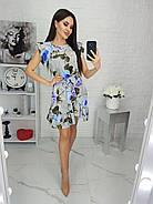 Женское платье с легкой асимметрией на юбке плюс волан, 00694 (Голубой), Размер 46 (L), фото 2