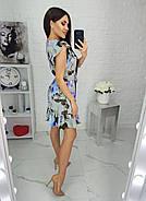 Женское платье с легкой асимметрией на юбке плюс волан, 00694 (Голубой), Размер 46 (L), фото 3