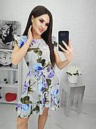 Женское платье с легкой асимметрией на юбке плюс волан, 00694 (Голубой), Размер 46 (L), фото 4