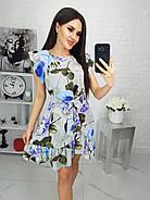 Женское платье с легкой асимметрией на юбке плюс волан, 00694 (Голубой), Размер 46 (L), фото 5