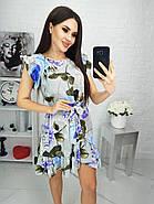 Жіноче плаття з легкої асиметрією на спідниці плюс волан, 00694 (Голубий), Розмір 46 (L), фото 6
