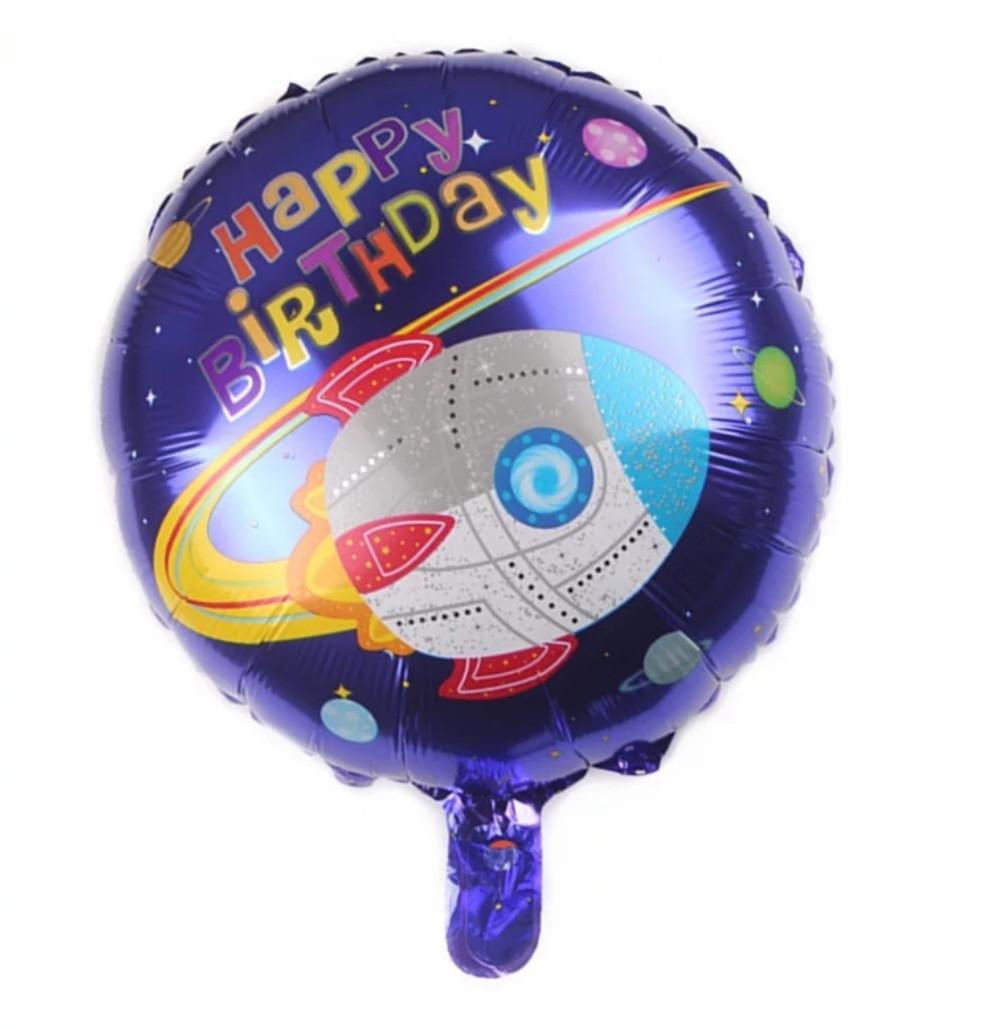 С днем рождения космос ракета фольгированный шар 45 см