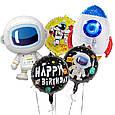 С днем рождения космос ракета фольгированный шар 45 см, фото 2