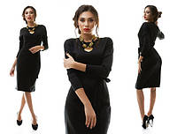 Трикотажное строгое черное платье миди с пояском. Арт-1086