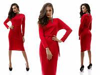 Трикотажное строгое красное платье миди с пояском. Арт-1086