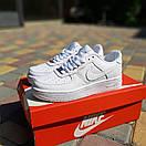 Чоловічі кросівки Nike Air Force 1 Білі натуральна шкіра, фото 2