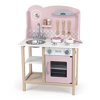 Детская кухня из дерева с посудой Viga Toys PolarB розовая (44046)