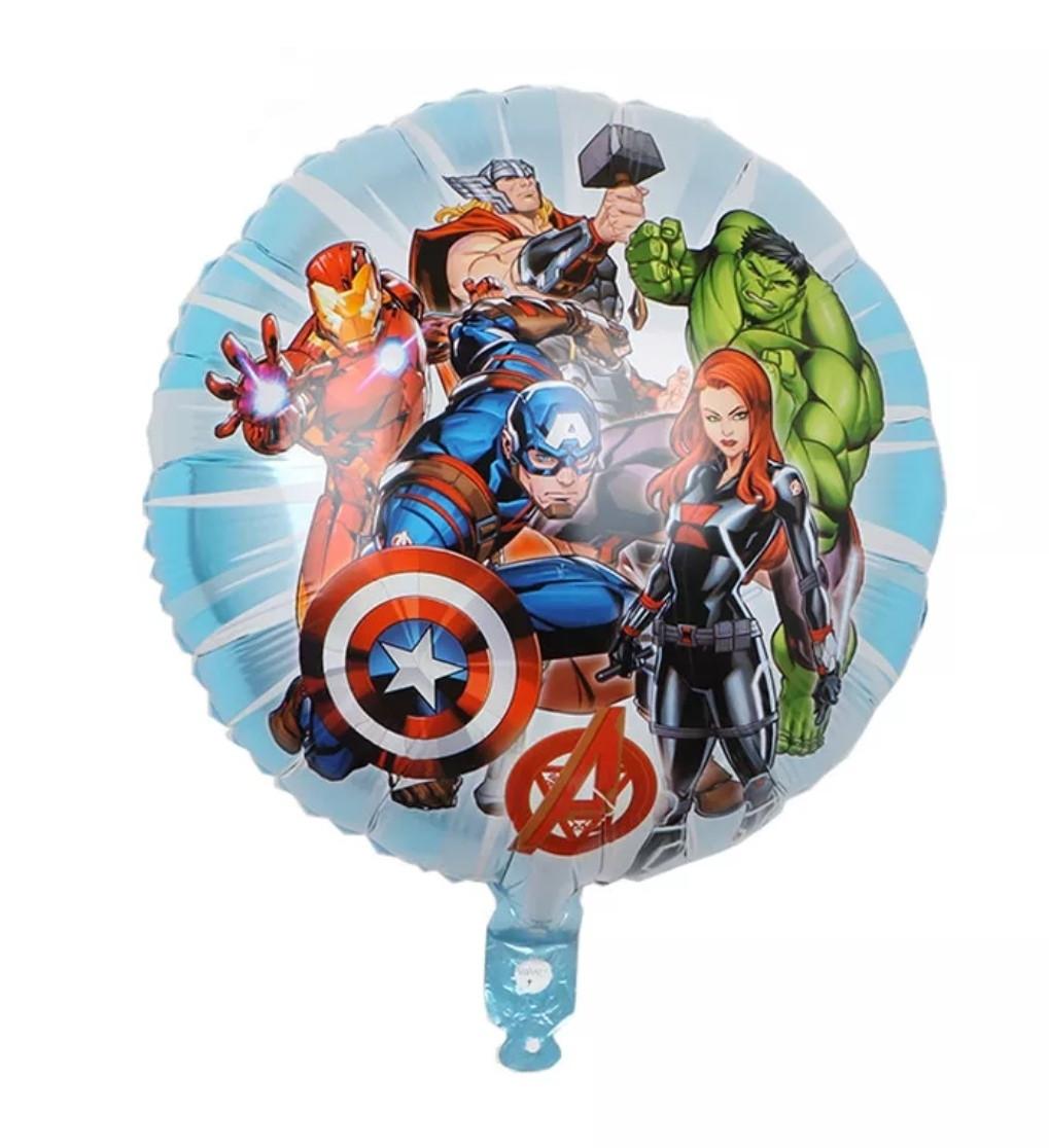 Фольгированный шар круглый мстители марвел супергерои на голубом фоне 45 см