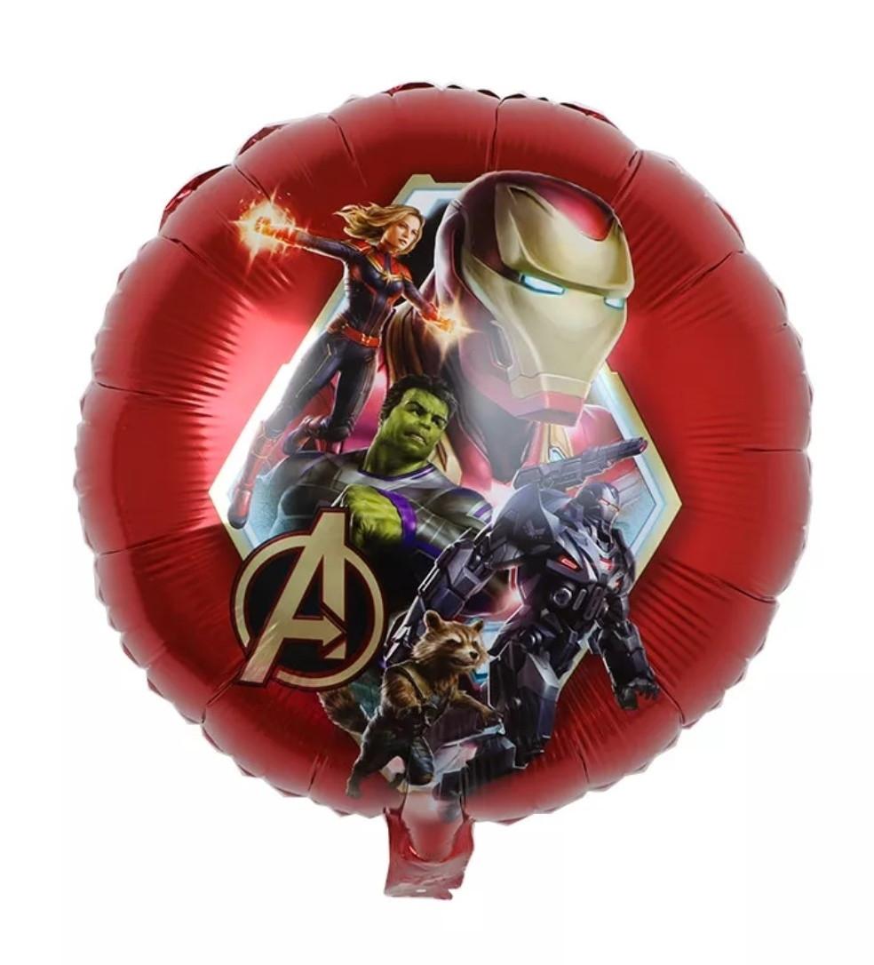 Фольгированный воздушный шар марвел железный человек на красном фоне 45 см