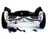 Гироборд Smart Balance 10,5 дюймов Хип хоп белый самобаланс   гироскутер детский Смарт Баланс 10,5 до 120 кг, фото 7