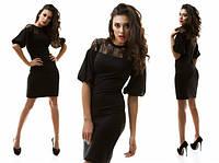 Красивое черное платье с гипюровой вставкой и рукавом волан. Арт-1046