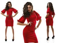 Красивое красное платье с гипюровой вставкой и рукавом волан. Арт-1046