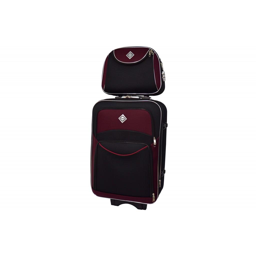Комплект валіза + кейс Bonro Style (маленька) чорно-вишнева