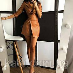 Кожаное платье на запах / арт.0161