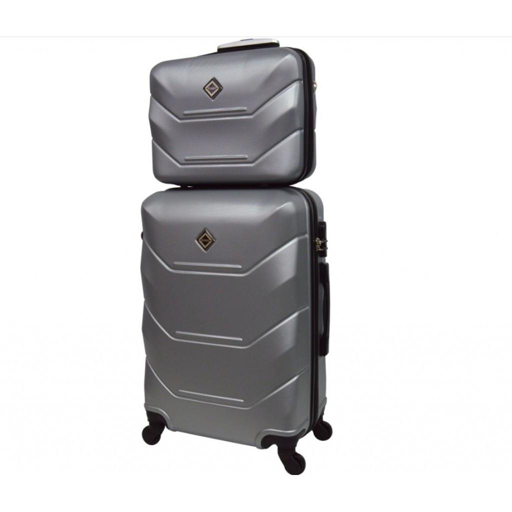 Комплект валіза + кейс Bonro 2019 (невеликий) срібний