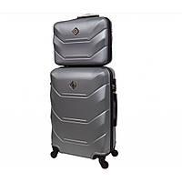 Комплект валіза + кейс Bonro 2019 (невеликий) срібний, фото 1