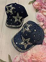 Кепка джинсовая для девочек со стразами Звезды размер 54-55 см, цвета указывайте при заказе