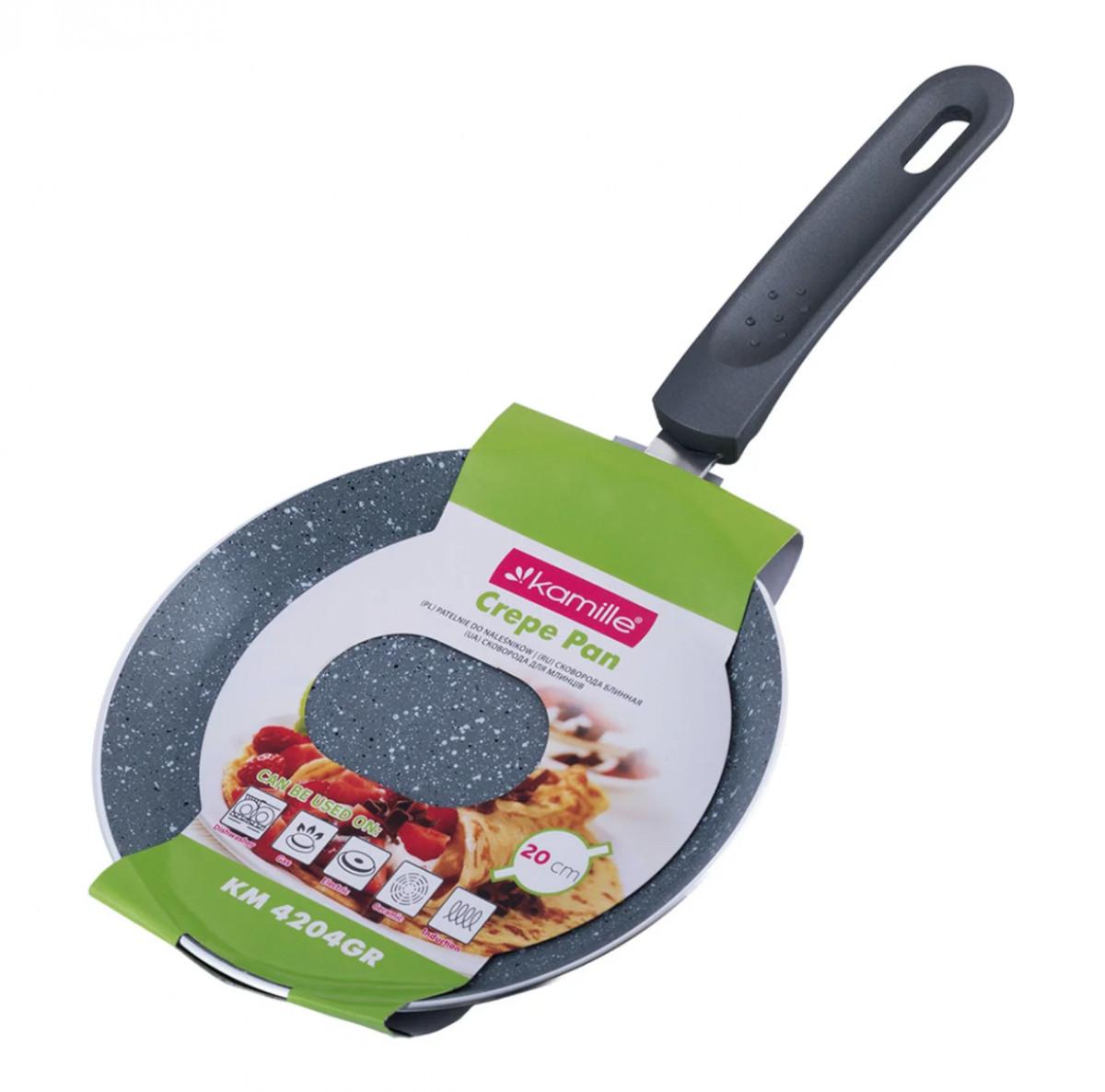 Сковорода млинна з гранітним антипригарним покриттям d=20 см Kamille KM-4204GR