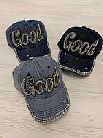 Кепка джинсовая для девочек со стразами Good размер 54-55 см, цвета указывайте при заказе