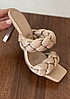 Шлепанцы КОСИЧКА женские кожаные бежевые на каблуке