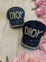 Кепка джинсовая для девочек со стразами Dior размер 54-55 см, цвета указывайте при заказе