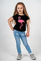 Футболка детская черная с принтом фламинго