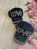 Кепка джинсовая для девочек со стразами Love размер 54-55 см, цвета указывайте при заказе