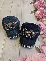 Кепка джинсовий для дівчинки зі стразами Dior розмір 54-55 см, кольору при замовленні вказуйте