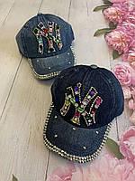 Кепка джинсовая для девочек со стразами NY размер 54-55 см, цвета указывайте при заказе