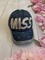 Кепка джинсовая для девочек с пайетками Miss размер 54-55 см, синего цвета