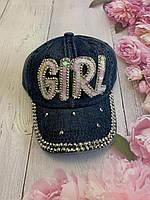 Кепка джинсова для дівчаток з паєтками Girl розмір 54-55 см, синього кольору