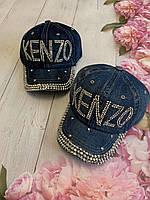 Кепка джинсовий для дівчинки зі стразами Kenzo розмір 54-55 см, кольору при замовленні вказуйте