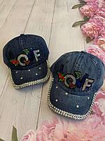 Кепка джинсовая для девочек с пайетками Love размер 54-55 см, цвета указывайте при заказе