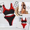 Купальник жіночий із двосторонніми плавками 009 (42 44 46) (чорний+червоний) СП